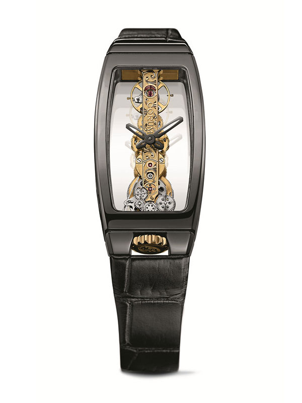 black leather strap copy Corum Miss Golden Bridge Ceramic