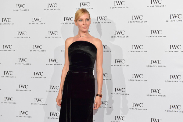 Uma Thurman Wore Browm Leather Strap Copy IWC Attending The 12th Zurich Film Festival