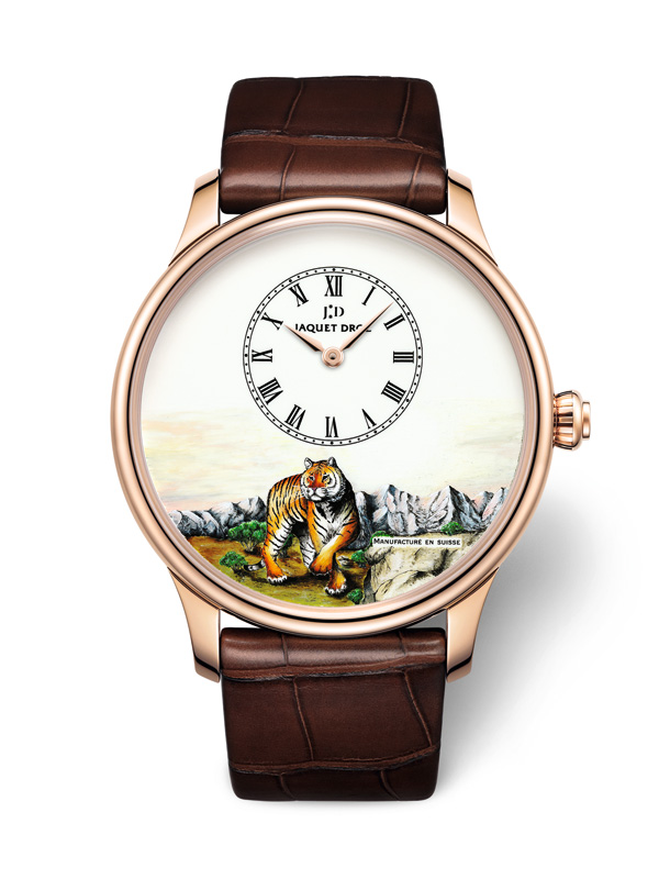 Swiss Red Gold Pinter Copy Jaquet Droz Petite Heure Minute Tiger Watches For Sale