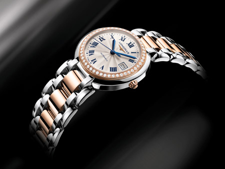 blue steel pointer copy Longines Prima Luna
