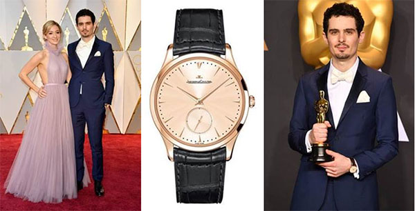 Damien Chazelle Wore The Rose Gold Case Replica Jaeger-LeCoultre Master Grande Ultra Thin Holding Oscar Statuette