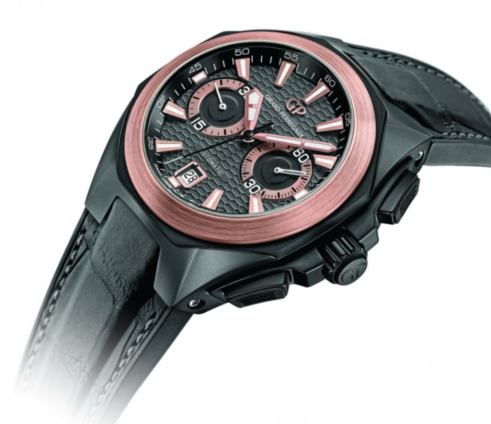 Girard-Perregaux Chrono Hawk copy watches with black dials are in high quality.