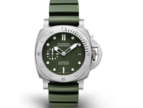 The military green Panerai looks special and strong.