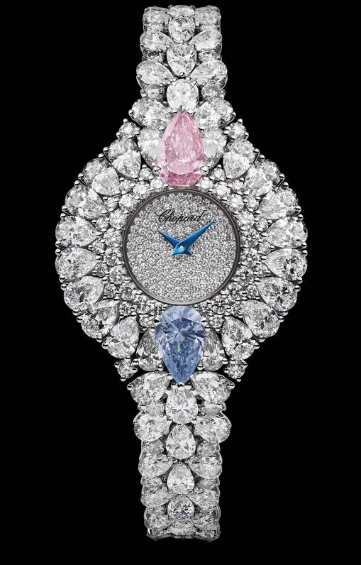Valuable fake watches are dazzling with diamonds.
